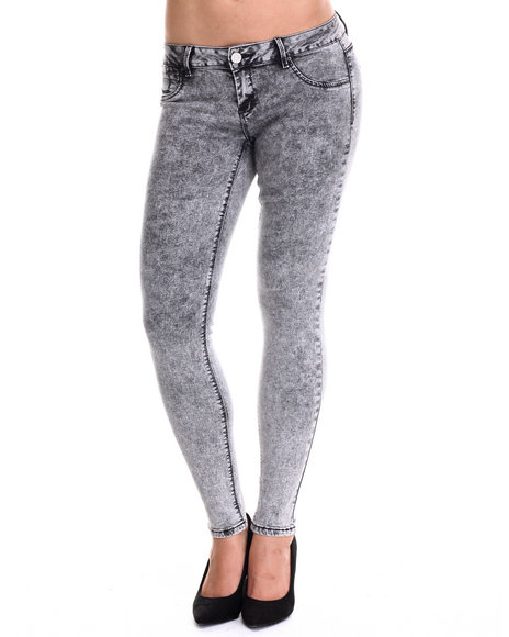 Basic Essentials - Women Black The Miracle Stretch Acid Black Skinny Jean