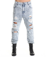 Bottoms - Low Life Drop Crotch Acid Jeans