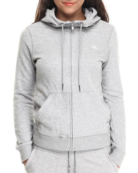 Adidas - Women Grey Slim Zip Hoodie - $45.99
