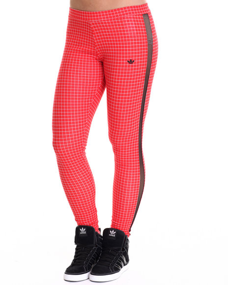 Adidas - Women Red Modern Tartan Leggings