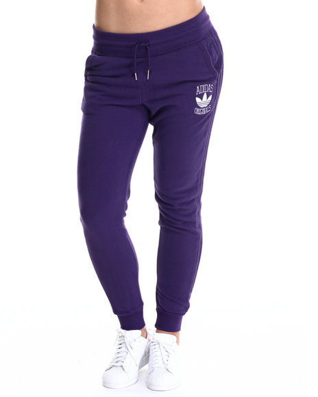 Adidas - Women Purple Cuffed Slim Track Pant Sweatpants