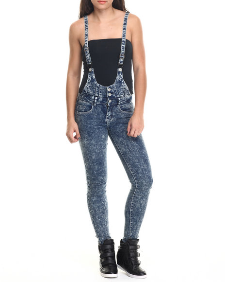 Basic Essentials - Women Dark Blue Daisy Long Overall