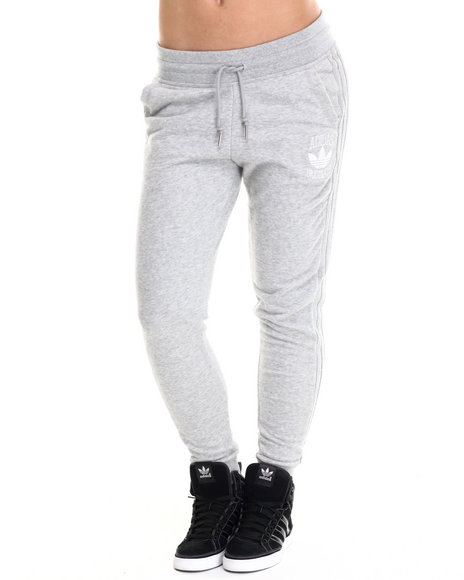 Adidas - Women Grey Cuffed Slim Track Pant Sweatpants - $60.00