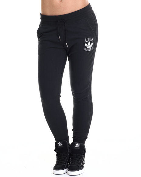 Adidas - Women Black Cuffed Slim Track Pant Sweatpants