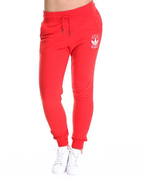 Adidas - Women Red Cuffed Slim Track Pant Sweatpants