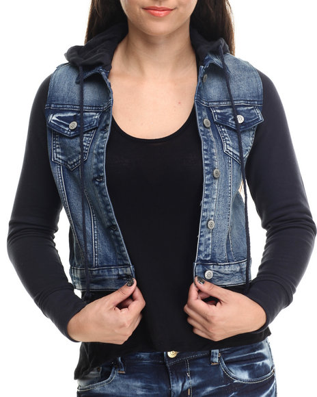 Basic Essentials - Women Blue Hooded Denim Jacket
