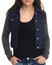 Women - Denim Mixed Fabrication Jacket