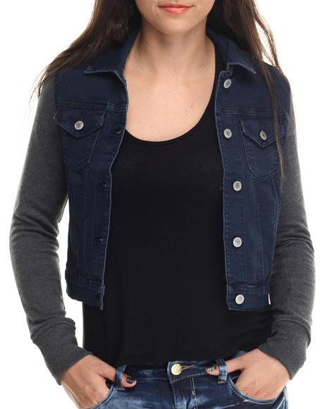 Basic Essentials - Women Blue Denim Mixed Fabrication Jacket