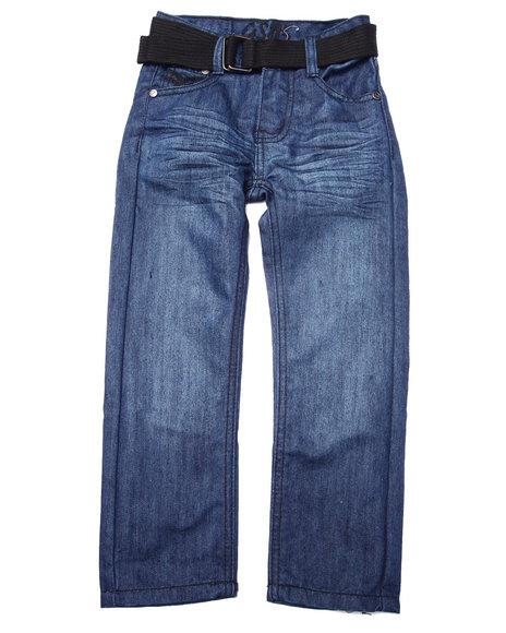 Arcade Styles - Boys Dark Wash Belted Mercer Jeans (4-7)