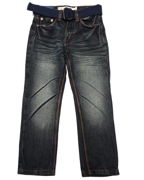 Arcade Styles - Boys Dark Wash Belted Pocket Jeans (4-7) - $17.99
