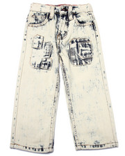Boys - ACID WASH PATCH JEANS (2T-4T)