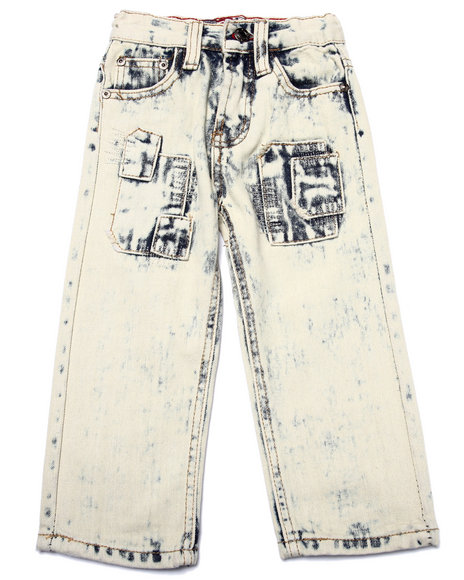 Arcade Styles - Boys Light Wash Acid Wash Patch Jeans (2T-4T)