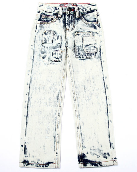 Arcade Styles - Boys Light Wash Acid Wash Patch Jeans (4-7)