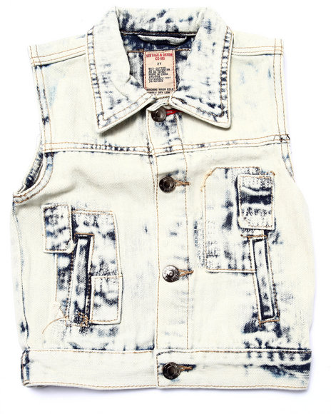 Arcade Styles - Boys Light Wash Acid Wash Patch Vest (2T-4T)