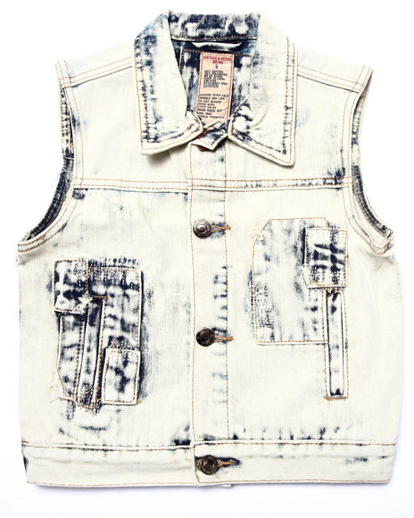 Arcade Styles - Boys White Acid Wash Patch Vest (4-7)