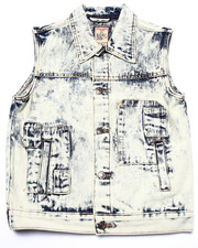 Sizes 8-20 - Big Kids - ACID WASH PATCH VEST (8-20)