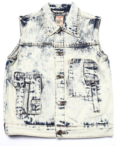 Arcade Styles - Boys Light Wash Acid Wash Patch Vest (8-20)