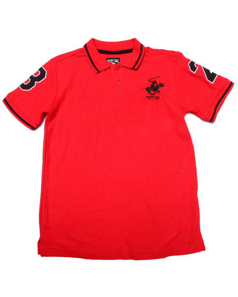 Arcade Styles - Boys Red Solid Polo W/ Back Applique (8-20)