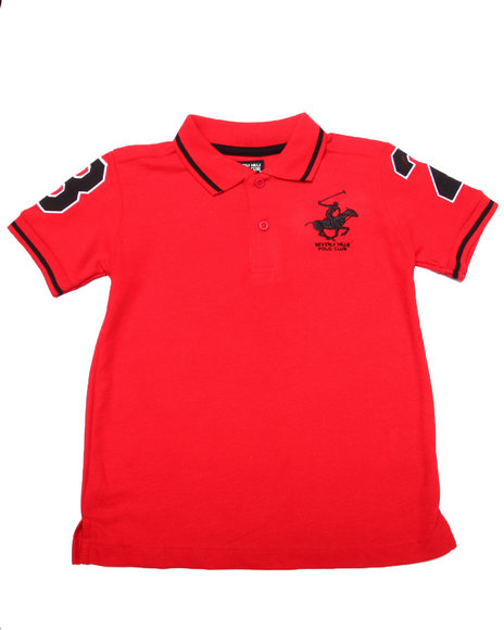 Arcade Styles - Boys Red Solid Polo W/ Back Applique (4-7)