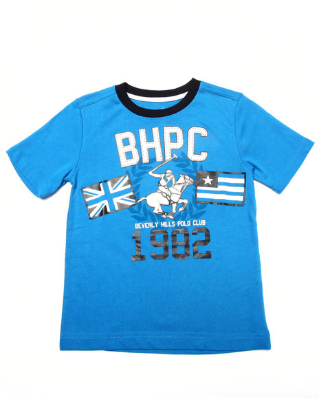 Arcade Styles - Boys Blue Jersey Tee W/ Applique (4-7)