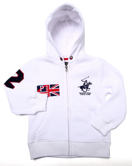 Arcade Styles - Boys White Bhpc Full Zip Hoody (4-7) - $11.99