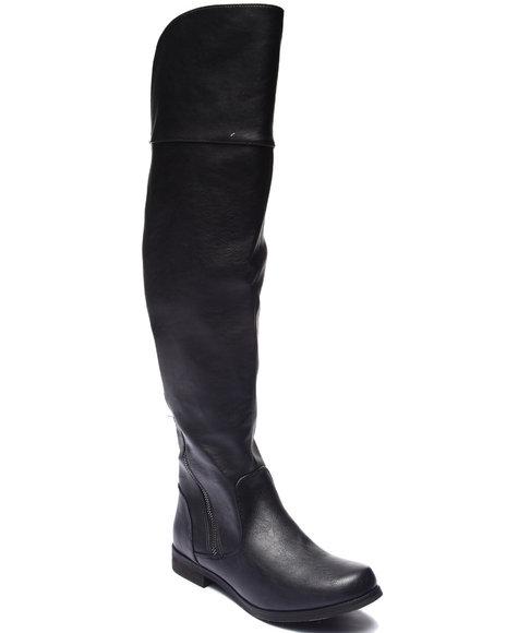 Xoxo - Women Black Bardot Asymmetrical Zip Over Knee Boot