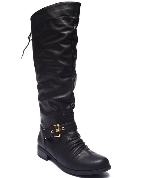 Xoxo - Women Black Marcher Equestrian Lace-Up Boot