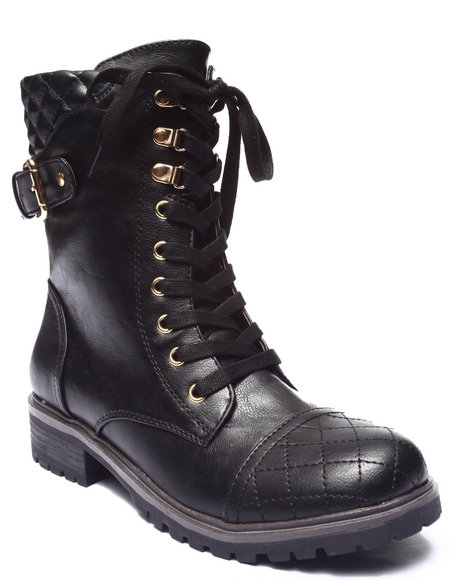 Xoxo - Women Black Jendon Quilted Moto Bootie