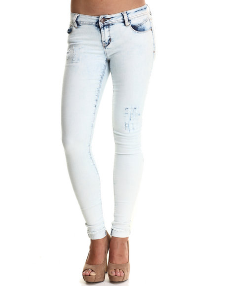 Basic Essentials - Women Light Blue Destructed Spirit Skinny Jean