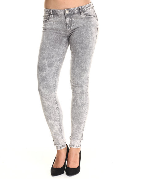 Basic Essentials - Women Light Grey Grey Clouds Acid Wash Skinny Jeans