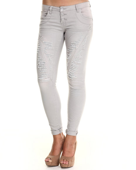 Basic Essentials - Women Grey Distructed Boyrfriend Jean W/Roll Up Ankles Destruction