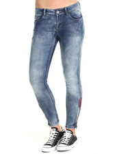 Women - Rain Dance Skinny Jean W/ankle zipper and Embordary