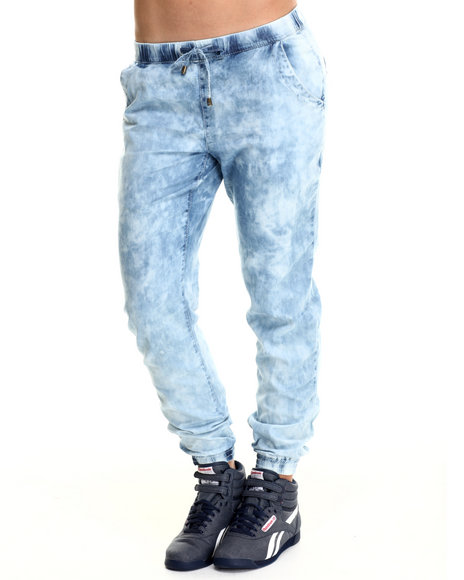 Basic Essentials - Women Blue Snow Wash Jogger Pants