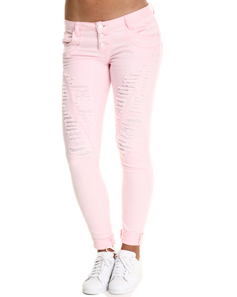Basic Essentials - Women Pink Distructed Boyrfriend Jean W/Roll Up Ankles Destruction