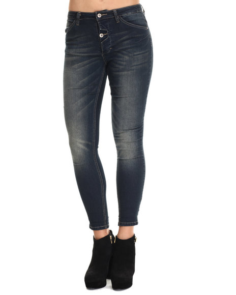 Basic Essentials - Women Dark Blue Heathers Skinny Jean W/Rolled Ankles