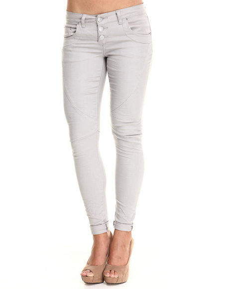 Basic Essentials - Women Grey Wrinkle Boyfriend Fit  Jean W/Rolled Ankles