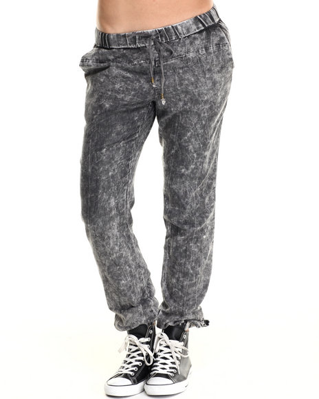 Basic Essentials - Women Black Black Snow Wash Jogger Pants