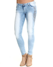 Bottoms - Light Wash Skinny Jeans w/stud detail