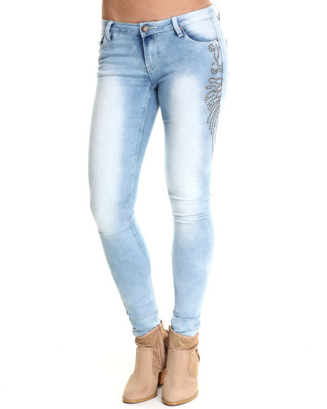 Basic Essentials - Women Light Wash Light Wash Skinny Jeans W/Stud Detail