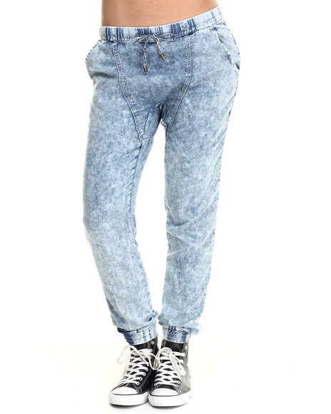 Basic Essentials - Women Blue Acid Star Drop Crotch Joggers