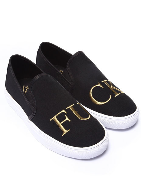 Y.R.U. - Men Black Fu Ck Slip On - $48.99