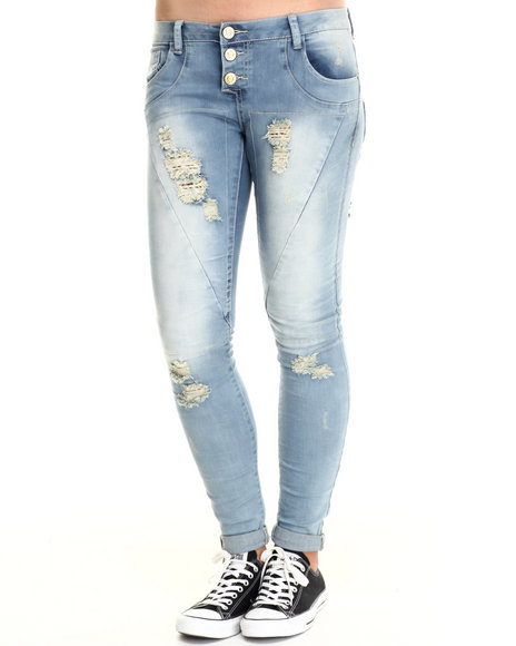 Basic Essentials - Women Medium Wash Vine Skinny Jean W/Destructed Detail - $21.99