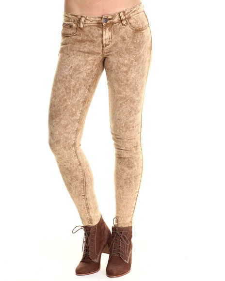 Basic Essentials - Women Brown Brown Acid Trip Skinny Jean