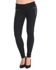 Basic Essentials - Black Sand Skinny Jean w/embordary detail