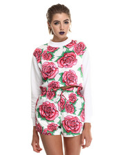 Sweatshirts - Brush Rose Cropped Crew