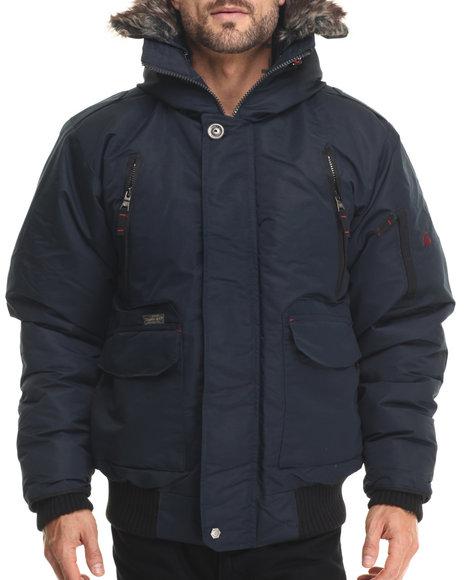 Basic Essentials - Men Navy Everest 80/20 Down Filled Snorkel Bomber - $122.00