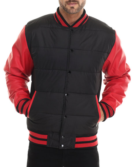 Akademiks - Men Black,Red Valentine 2-Tone Padded Cire Jacket