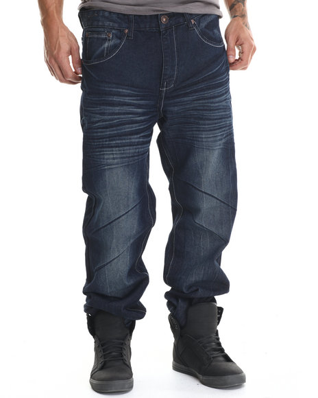 Basic Essentials - Men Dark Wash Whiskered Flap - Pocket Denim Jeans
