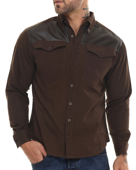 Ur-ID 188203 Well Established - Men Brown Well Chambray Plaid Button Down Shirt W/ Vegan Leather Detail