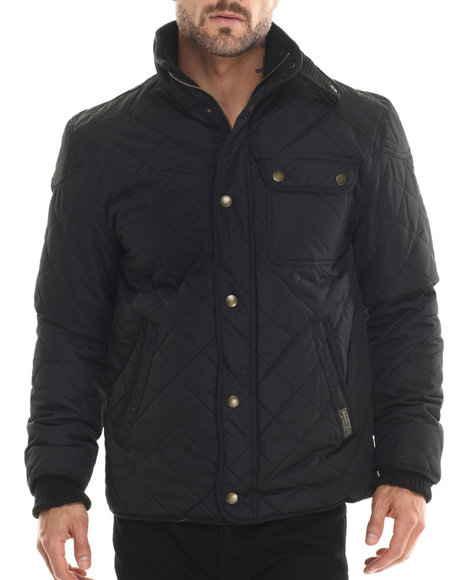 Ur-ID 188204 Basic Essentials - Men Black Marco Diamond - Quilted Mid - Weight Jacket